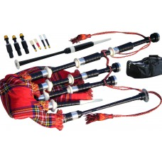 Highland Bagpipes Black Rosewood, Ivory & Nickle Mounts